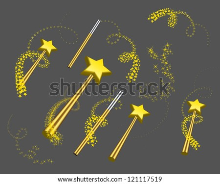 magic wand vector set