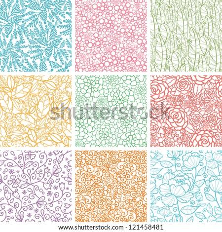 set of nine textured natural