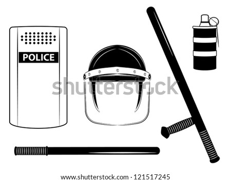 one color vector police set