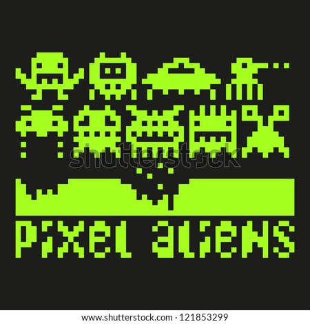set of pixel art aliens icons