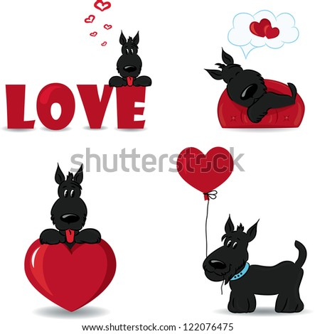 funny dogs with heartsvector