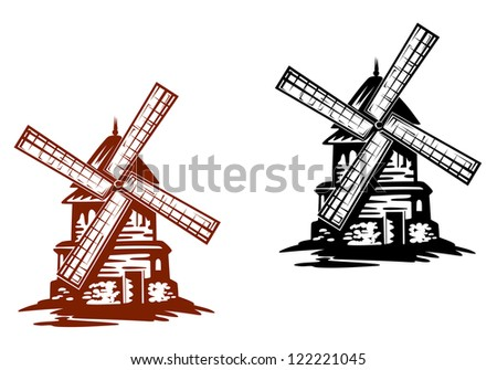 ancient windmills in black and