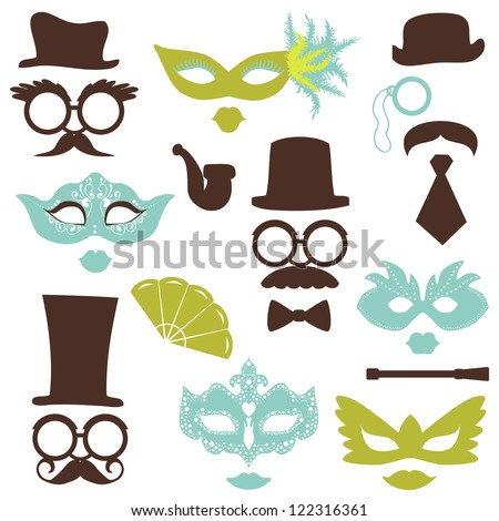 retro party set   glasses  hats