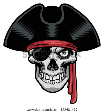 pirate skull with hat and eye