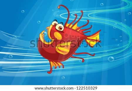 illustration of a scary fish in
