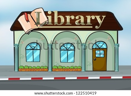 illustration of a library near