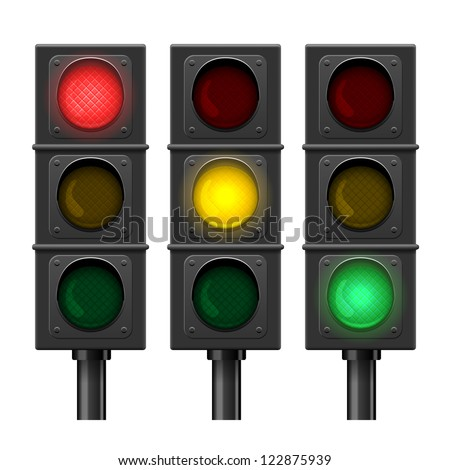 set of vector traffic lights