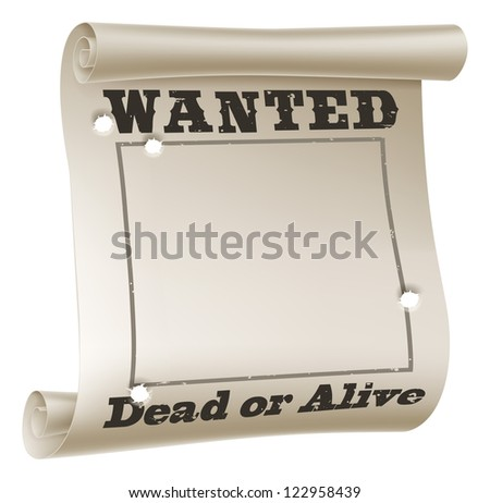 a blank wanted poster with text