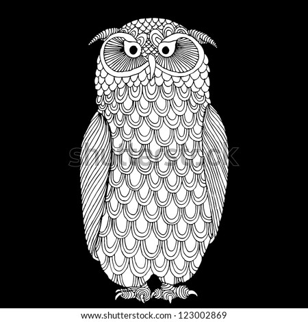 original hand drawing of owl