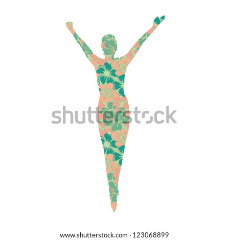 woman silhouette in flowers