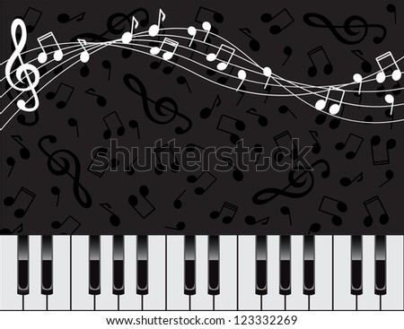 dark background with piano keys