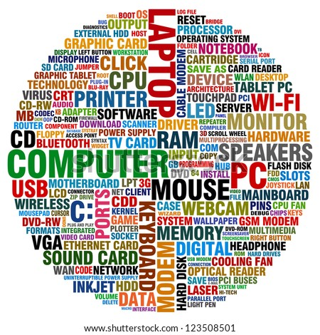 Vector Images, Illustrations and Cliparts: word collage about computer ...