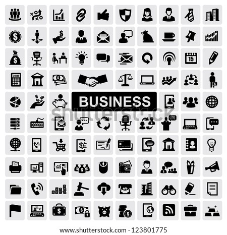 vector black business web icons