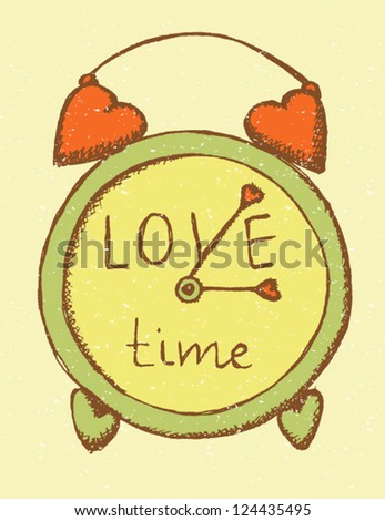 retro clock with hearts
