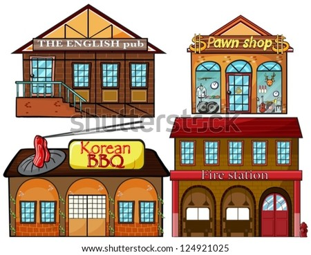 illustration of an english pub