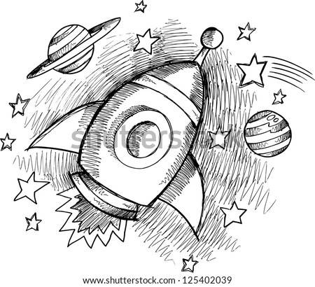 cute outer space rocket sketch