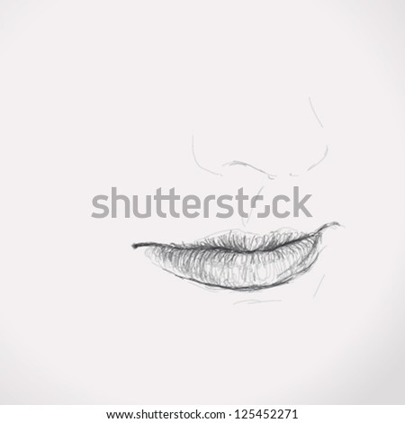 woman mouth   vector sketch of