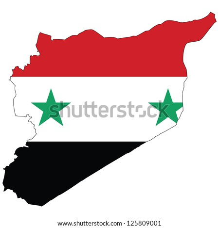 syria vector map with the flag