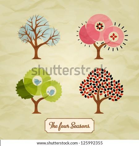 four seasons trees background