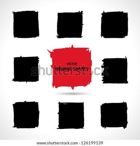 set of grunge vector shapes