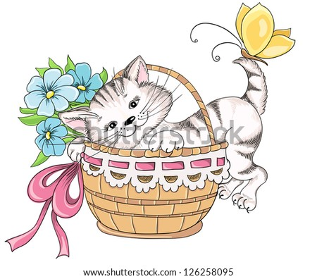 kitty and bouquet of flowers in