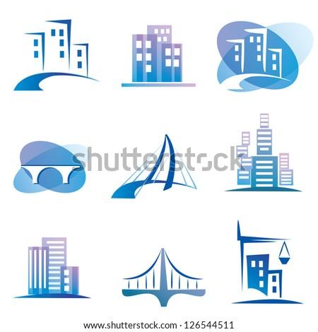 city vector icons set