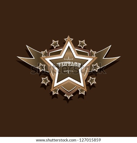 vector vintage star label retro
