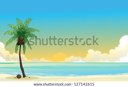 coconut palm tree and the blue