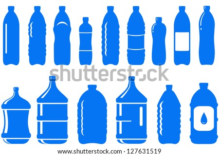 set of isolated water bottle