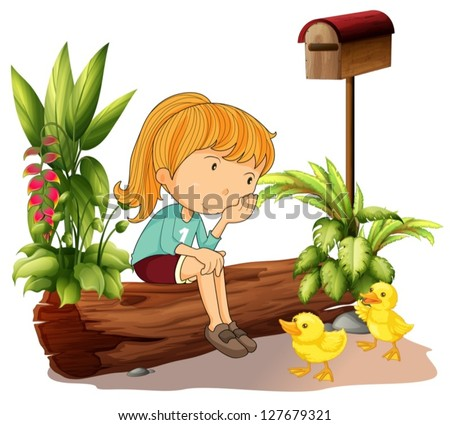 illustration of a sad girl and