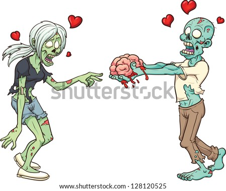 zombie couple in love vector