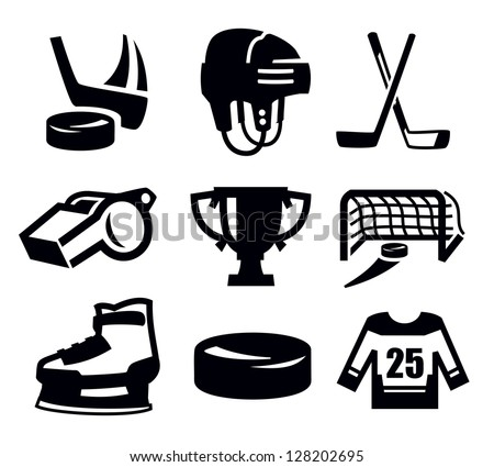 vector black hockey icon set on