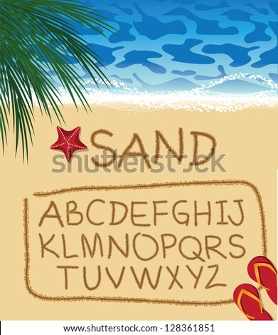 font alphabet written in sand