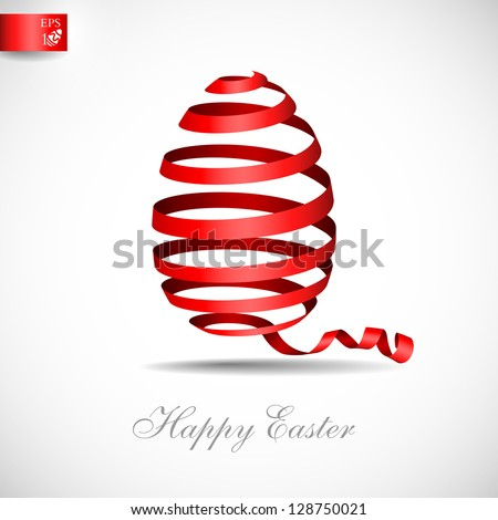 easter ribbon egg vector