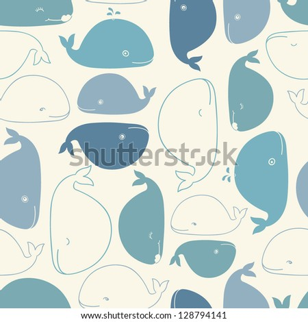 cute doodle whales seamless