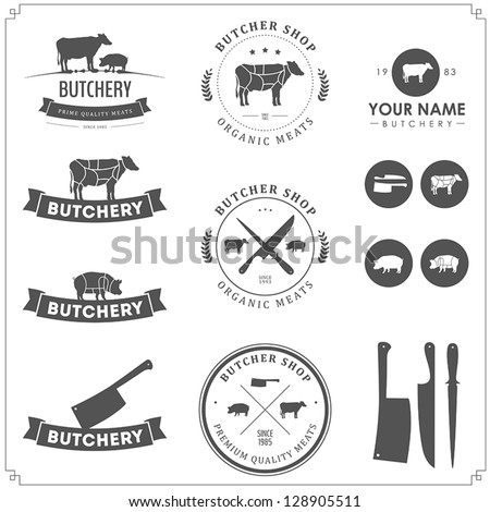 set of butcher shop labels and