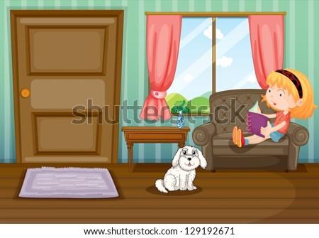 illustration of a girl reading