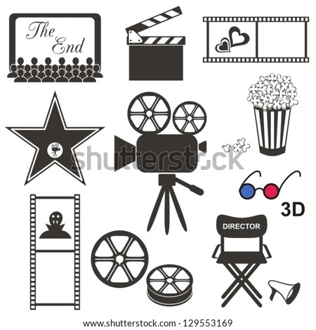 set of black movie icons on