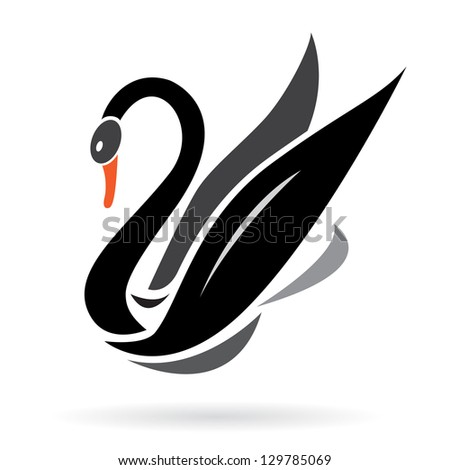 vector image of swans on a