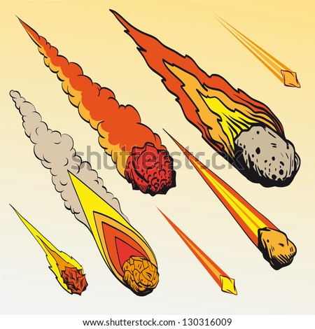 set of meteorites  vector