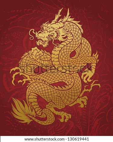 coiled dragon gold on red
