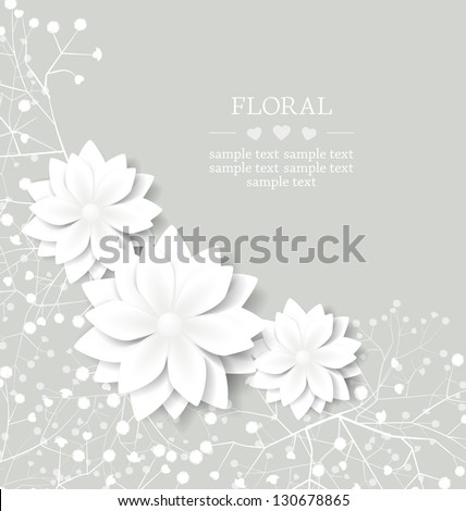 wedding floral card with place