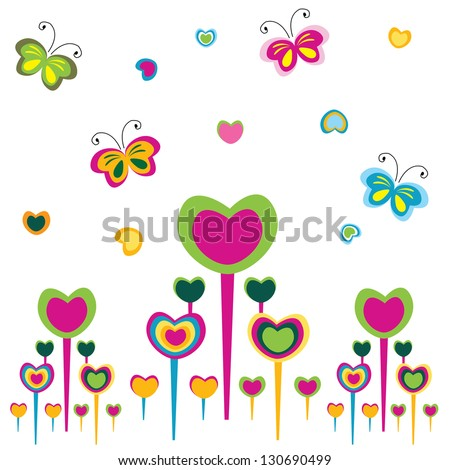 lover flowers with butterflies