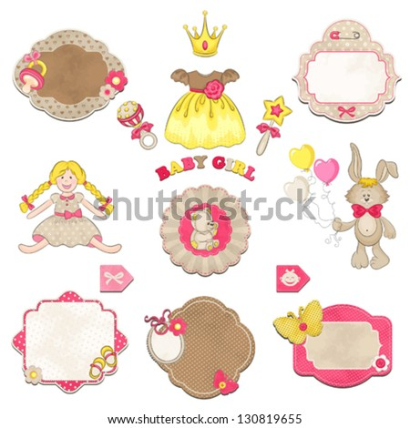 collection of baby girl symbols