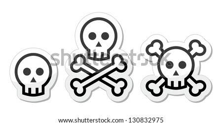 cartoon skull with bones vector