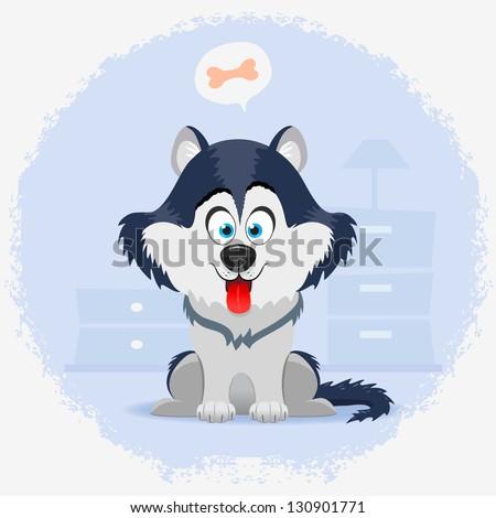 illustration cute cartoon dog