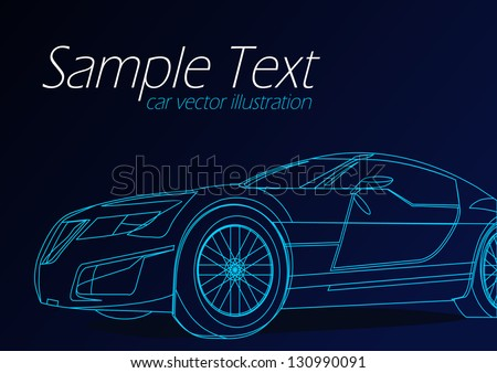 blue outline car background