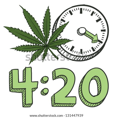 doodle style 420 marijuana leaf