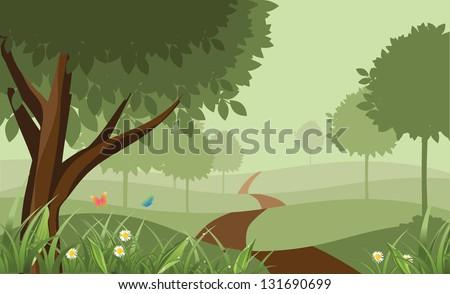 scenic park eps 8 vector