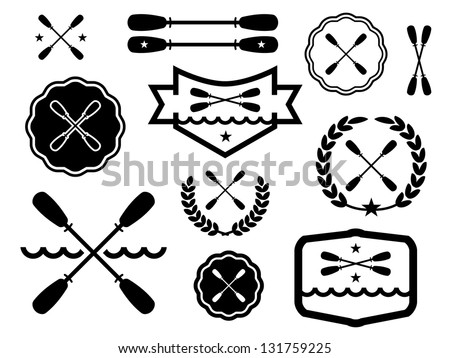 Vector images illustrations and cliparts paddle badges for Canoe paddle tattoo